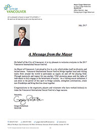 A Message from the Mayor of the City of Vancouver
