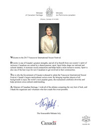 VISF 2017 Message From Honourable Mélanie Joly - Minister Of Canadian Heritage