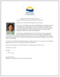 Letter From Minister of Sports and Culture, Ida Chong